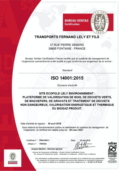 Certification ISO 14001 Ecopôle Lely Environnement à Fontaine