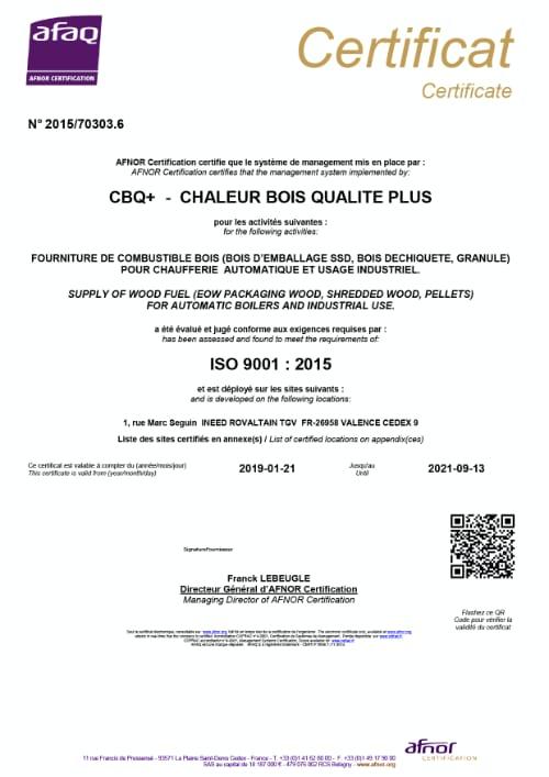Certification CBQ - Chaluer Bois Qualité Plus pour Lely environnement sur poste de Valence (Drome)