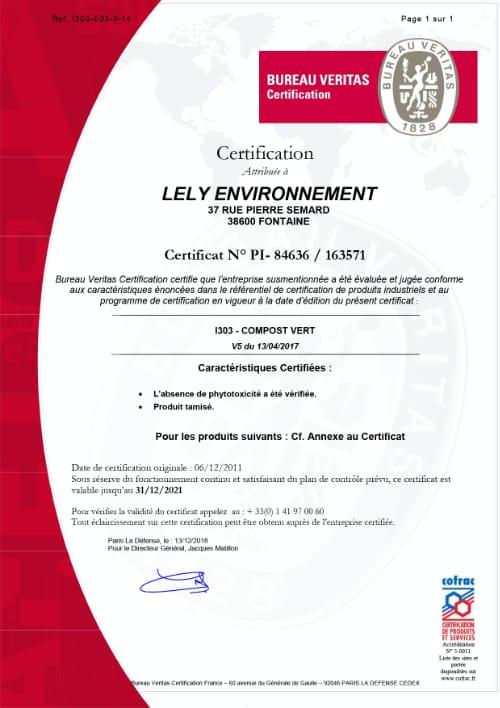 Certification Qualité France I 303 Lely Environnement - Fontaine en Isère