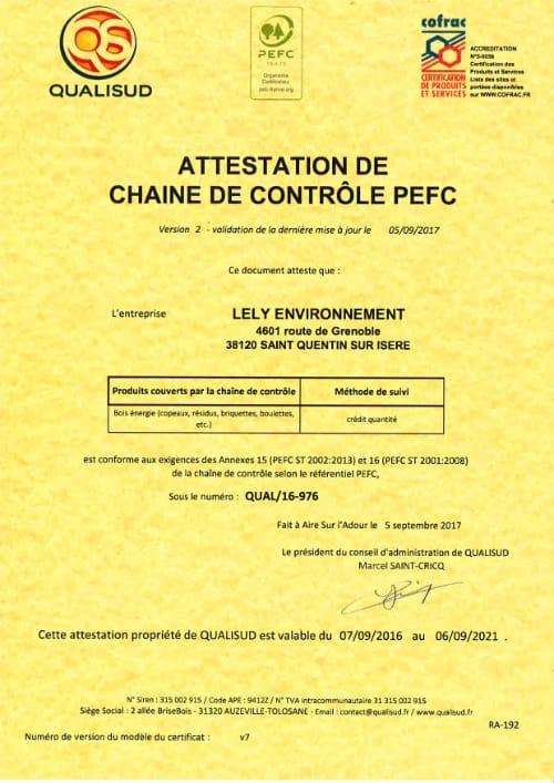 Certification PEFC - Lely Environnement en Isère