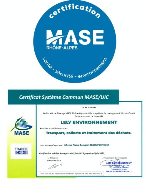 Certificat MASE pour Lely Environnement à Fontaine (Isère)